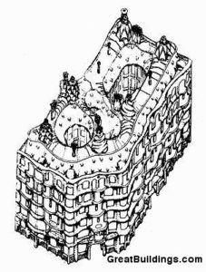 Casa Milà - Antoni Gaudi aksonometrik