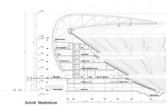 Allianz Arena kesit - Herzog & de meuron
