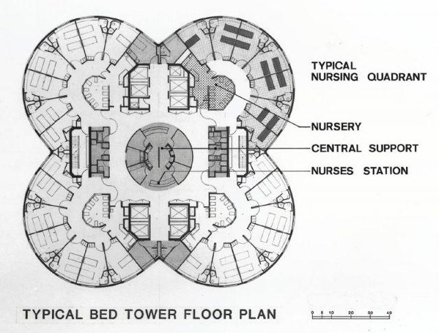 Prentice Kadın Hastanesi - Bertrand Goldberg plan