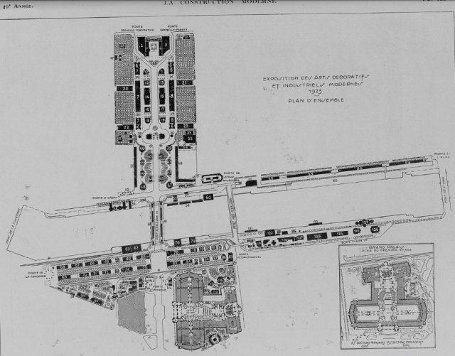 Art Deco The Exposition des Decorative Arts Fuar Planı, 1925