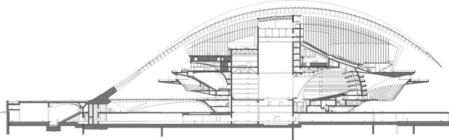 Valencia Opera Evi (Palau de les Arts Reina Sofia) / Santiago Calatrava kesit