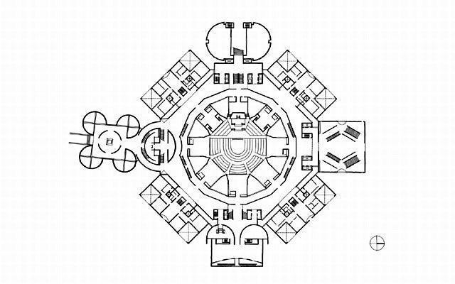 Bangladeş Ulusal Meclis Binası / Louis Kahn plan