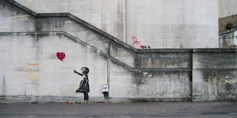 Girl with Balloon, Banksy. 2002, İstanbul, Türkiye